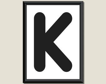 Typography Digital Print Monogram Initial Wall Art Zarista Letter K