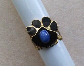 Vintage Animal Paw Ring, Golden Bras Filigree Ring, Golden Dog Paw Ring, Blue Stone Ring, Animal, Creature -Year of the Dog by enchantedbeas