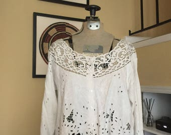 White Crop Lace Top