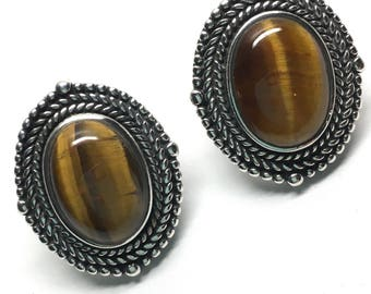 Vintage Tiger's Eye and Sterling Post Earrings