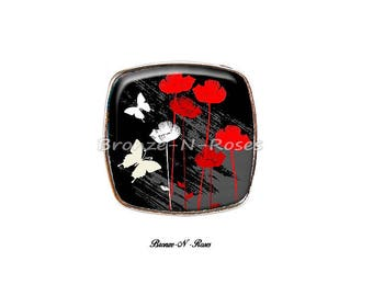 Large square ring Butterfly ° ° ° ° poppies flowers silver tone black and red glass cabochon