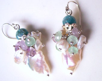 Pink Amethyst, Bridal Bouquet Pearl Earrings, Pastels, Amethyst Earrings, Petite Earrings, Bridesmaids Gift for Her, Keshi Pearls, Apatite