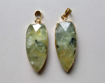 Pear Shape Faceted Prehnite Pendants  - B1228