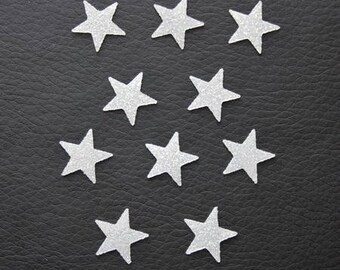 Pattern, fusible, small, Star, fine, badge, patch, white glittery 15x15mm