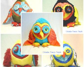 OWL plush, amulet, Doggie gift Valentines heart, soft, colorful, playful, toutoutherapie, comforting, unique, big hug