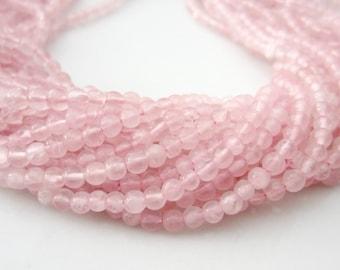 Rose Quartz Beads Smooth Round Beads, Pink Quartz Beads, Light Pink Gemstone Beads, Pale Pink Stones, Rose Quartz Stones 3mm - Full Strand