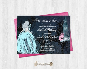 Cinderella Sweet Sixteen Birthday Invitation Princess Fairytale Fairy Tale Sixteenth Birthday Party Ball Elegant Glitter
