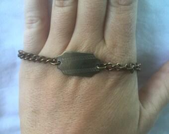 Antique Engraved ID Bracelet Adult Nice!