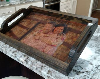 Personalized Serving Tray, Serving Tray With Photo, Wood Serving Tray, Personalized Tray, Custom Serving Tray, Photo Tray, Rustic Tray