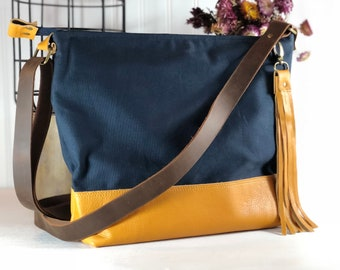Canvas Crossbody Bag, Navy Blue, Mustard Yellow Leather, Hobo Bag, Slouch Bag, Day Bag, Leather Crossbody Bag, Zip top bag, Adjustable Strap