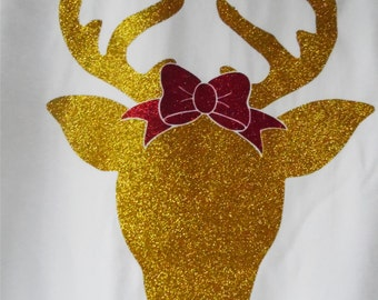 GLITTER REINDEER with BOW,Short-sleeve shirt with unlimited color combinations, Christmas, Rudolph the Red Nose, multiple shirt styles.ch