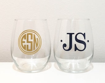 Monogrammed Stemless Wine Glass, Personalized Wine Glass, Monogram Glass, Monogram Gift Idea, Wine Gift, Custom Wine Glass, Monogram Gift