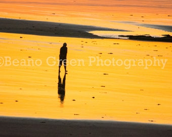 Sunset at Westward Ho! with silhouette