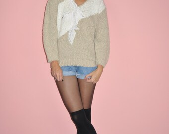 Vintage 80s Tan White Pearl Embroidered Patchwork Color Block Knit Sweater L