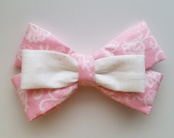 Set of two. Pink and white hair clips. Floral hair barrettes. Girls hair accessories. Polka dot Hair bows.