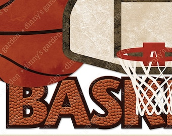 BASKETBALL, Digital Embellishments Clip Art Word Overlay | textured basketball quote net backboard