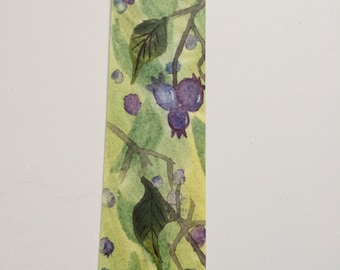 Blueberry Bush Watercolor Bookmark-bookmark, bookmarks, handmade bookmarks, handmade bookmark, blueberry, blueberries, watercolor, fruit