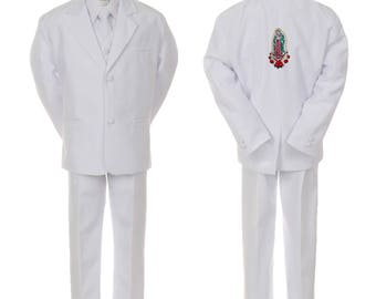 New Baby Toddler Boys WHITE Christening 1st Communion 5 (or 6 with stole) pieces Suit Tuxedo BY013 Guadalupe 2