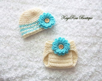 Newborn Baby Girl Crochet Flower Hat and Diaper Cover Set Cream and Blue Stripes