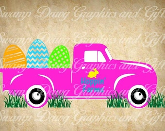 Easter svg, Easter Vintage Side truck svg, Easter Vintage truck svg, silhouette, cricut, cut file, easter cut file, svg, easter egg svg, egg