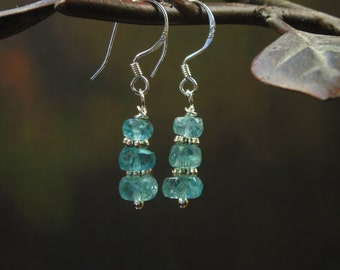 Natural Blue Apatite Earrings/ Faceted Apatite Dangle Earrings/ Sterling Silver dangle Earrings