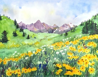 Landscape Art, Floral art print, Great outdoors, Mountain artwork, Mountain Range, Watercolor print, Wild flower, Wall art, Green painting