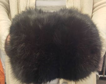 Vintage Black Fox Fur Muff with hidden pocket purse