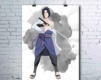 Sasuke Uchiha - Naruto Printables - Anime Decor - Sasuke - Naruto Shippuden - Watercolor Print - Wall Art - Sasuke Poster - Uchiha