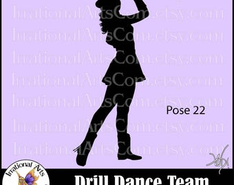 Drill Dance Team Silhouettes Pose 22 - 1 EPS & SVG Vinyl Ready files and 1 PNG digital file and small commercial license
