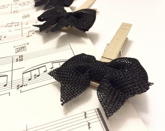6 Black Burlap Ribbon Clothespin-LIMITED-Wedding-Decor-Projects-Photo Lines-Gift Toppers