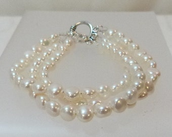 Freshwater Small Puffed Coin Pearl Triple Strand Bracelet