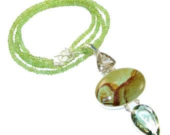 Wild Horse Jasper, Green Amethyst, Citrine, Peridot Sterling Silver Necklace - weight 43.60g - dim 3 1 2 inch - code 27-mar-15-5