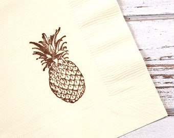 Pineapple Party Napkins - Set of 25 - 3 ply, 1/4 fold Luncheon napkins - Luau, Tropical party, Fiesta