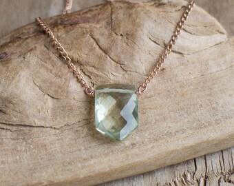 Green Amethyst Necklace, Prasiolite Necklace, Geometric Necklace, Gift for Women, Minimalist Jewelry, Gemstone Pendant, Gemstone Jewelry