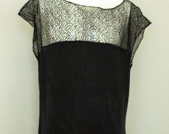 Barney's Silk Black Sleeveless Lace Top.