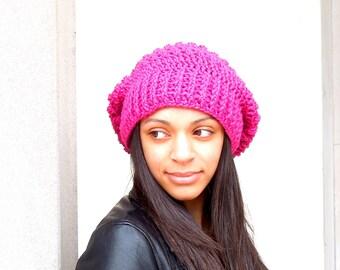 Crochet Slouchy Hat, Oversize Hat, Tam Hat, Crochet Hat, Color is Raspberry,