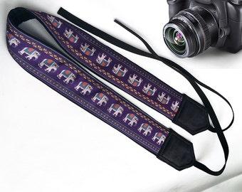 Ethnic Camera Strap.  Padded,Soft Camera Strap. Elephants Camera Strap. Camera Holder. Accessories