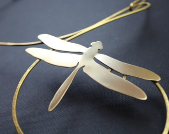 Brass Necklace with Dragonfly