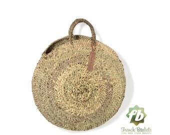 Ronde des paniers Français chubby moyen: marocain panier, sac en paille, panier français paille sac, cabas en paille, grand panier, paniers naturel