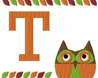 Hooty Owl Fall Machine Embroidery Font Monogram Design Set
