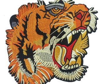 Embroidered Big Tiger Head Animal Patch Applique, Tiger Badge for Sewing and Fashion