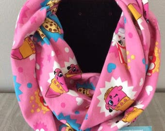 Girls pink Shopkins infinity scarf - Lippy and friends