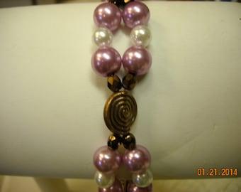 purple pearl and copper bracelet