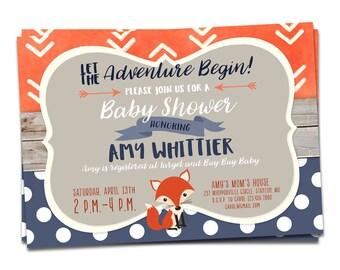 Woodland Adventure Baby Shower Invitation, Fox Baby Shower Invitation, Fox Invitation, Adventure, Printable Baby Shower Invites, Fox Invite