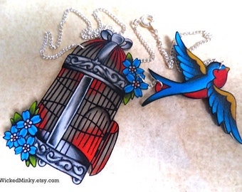 Vintage Americana Tattoo Style Birdcage Necklace With Flying Sparrow