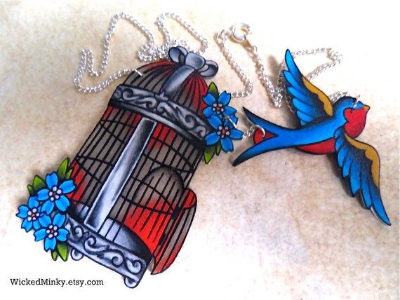Vintage Americana Tattoo Style Birdcage Necklace With Flying