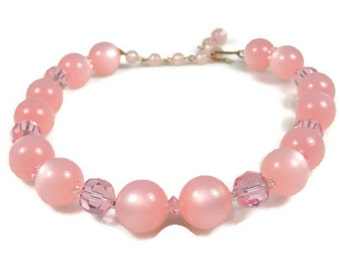 Pink Moonglow Lucite Crystal Choker Necklace 1950s