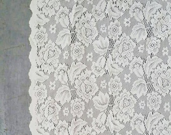 Large White Lace Window Curtain. Vintage White Lace Curtain. Long Floral Lace Curtain panel. 5 x 5ft.