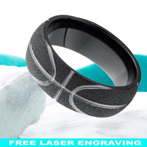 Basketball Ring Black Zirconium Wedding Band 8mm Mens Womens