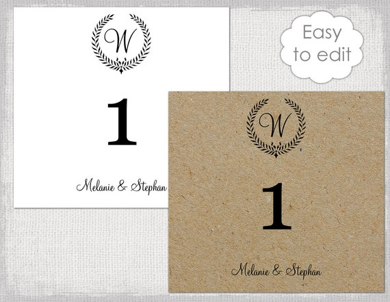 Table numbers template rustic leaf garland number